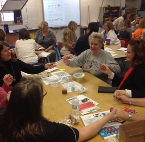 Educators participating in a STEAM workshop project